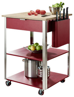 Culinary Prep Kitchen Cart Red