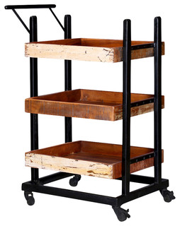 Colorado Springs Solid Wood 3-Tier Wheeled Industrial Bar Cart