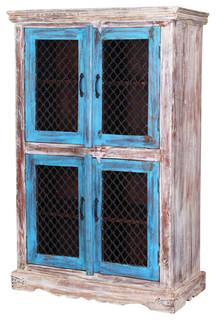 "Winter Morning 63"" Farmhouse Rustic Mango Wood Large Display Cabinet"