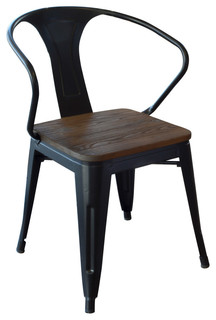 Amerihome DCHAIRBWT Loft Black Metal Dining Chairs With Wood Seat Set of 4