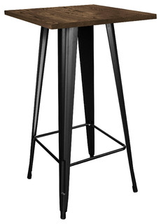 Amerihome PUBTBWT Loft Black Metal Pub Table With Wood Top