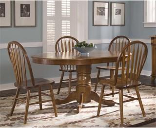 Liberty Furniture Nostalgia 5-Piece Oval Dining Set Medium Oak