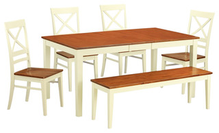 Nicoli 6-Piece Solid Wood Dining Set Buttermilk And Cherry