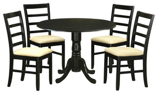 Dublin 5-Piece Solid Wood Dining Set Black