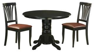 Shelton 3-Piece Solid Wood Dining Set Black