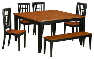 Parfait 6-Piece Solid Wood Dining Set Black And Cherry