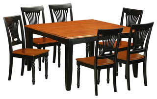 Parfait 7-Piece Solid Wood Dining Set Black And Cherry