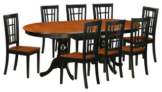 Plainville 9-Piece Solid Wood Dining Set Black And Cherry