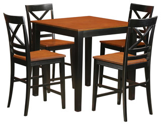 Pub 5-Piece Solid Wood Dining Set Black And Cherry