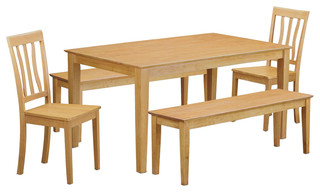 Capri 5-Piece Solid Wood Dining Set Oak
