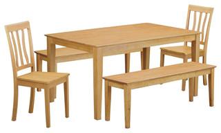 Capri 5-Piece Solid Wood Dining Set Oak