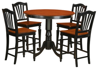 Trenton 5-Piece Solid Wood Dining Set Black And Cherry