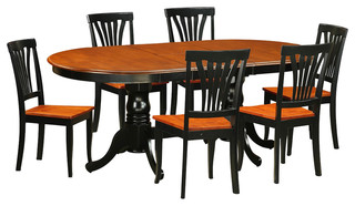 Plainville 7-Piece Solid Wood Dining Set Black And Cherry