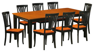 Quincy 9-Piece Solid Wood Dining Set Black And Cherry