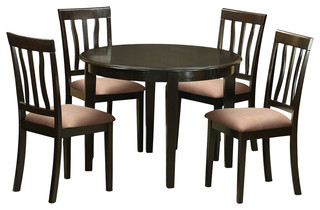 Boston 5-Piece Solid Wood Dining Set Cappuccino