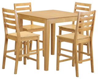 Pub 5-Piece Solid Wood Dining Set Oak
