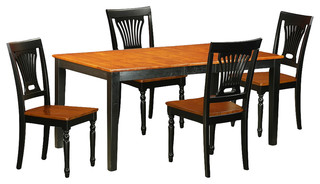 Nicoli 5-Piece Solid Wood Dining Set Black And Cherry