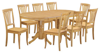 Vancouver 9-Piece Solid Wood Dining Set Oak