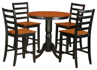 Jackson 5-Piece Solid Wood Dining Set Black And Cherry