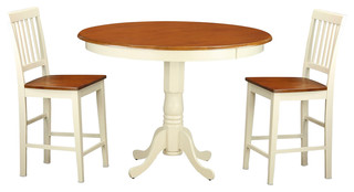 Trenton 3-Piecesolid Wood Dining Set Buttermilk And Cherry