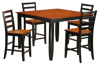 Fairwinds 5-Piece Solid Wood Dining Set Black And Cherry