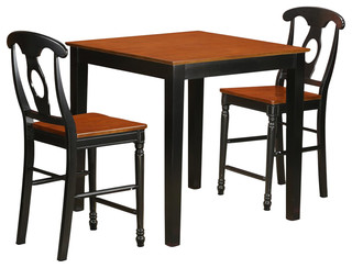 Pub 3-Piece Solid Wood Dining Set Black And Cherry