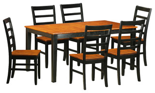Nicoli 7-Piece Solid Wood Dining Set Black And Cherry