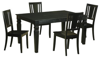 Weston 5-Piece Solid Wood Dining Set Black