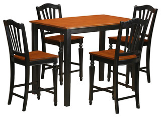 Yarmouth 5-Piecesolid Wood Dining Set Black And Cherry