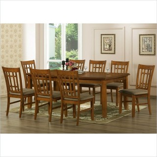 Baxton Studio Megan 7-Piece Dining Set Brown Stain