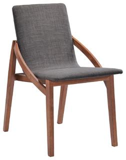 Modrest Jett Modern Gray Fabric Dining Chair Set of 2