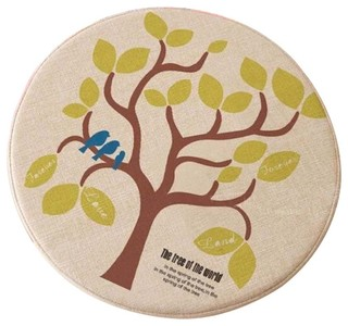 Pastorable Style Green Tree Pattern Cushions Round Shape Chair Pads