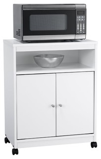 White Utility Cart/Kitchen Microwave Cart With Casters