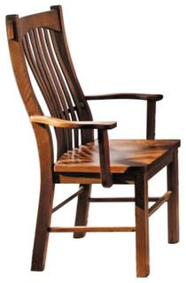 Laurelhurst Slatback Arm Chair Contoured Solid Wood Seat Mission Oak Finish