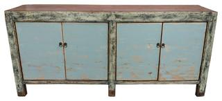 Consigned Blue Distressed Antique Gansu Sideboard