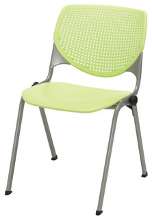 KOOL Series Polypropylene Stack Chair with Perforated Back Lime Green Finish