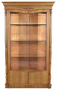 Consigned Vintage Light Honey Finish 2-Door China Cabinet Hutch F-1200