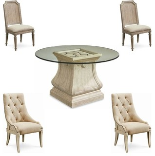 "Arch Salvage Parchment Leoni 5-Piece Round 60"" Glass Top Dining Table Set"