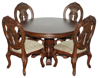 "5-Piece Burl Mahogany 52"" Round Pedestal Table With 4 Side Chairs Dining Set"