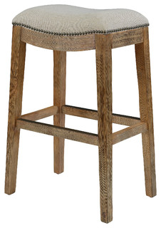 Duchess Saddle Stool With Nail Head Accents And Cream Fabric 30' Bar Height