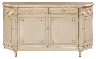 Jesse French Country Carved Pine Beige Sideboard
