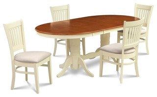 5-Piece Dining Room Set Buttermilk and Cherry Finish