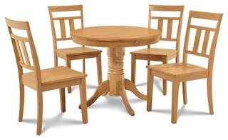 5-Piece Round Kitchen Dining Table Set Oak Finish