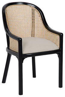Lizzette French Country Black Mahogany Linen Upholstered Dining Chair