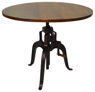Foundry Industrial Hi-Lo Table With Rivited Perimeter Chestnut/Black