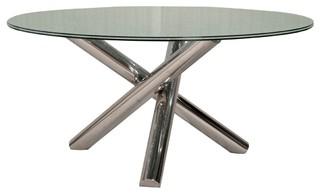 "Star International Ritz Gotham Round Dining Table Clear 60"" Round Glass Top"