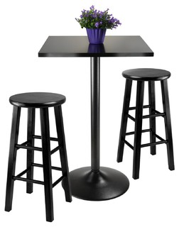 Obsidian 3Pc Counter Height Dining Set Black Squar Table Top w/ 2 Wood Stools