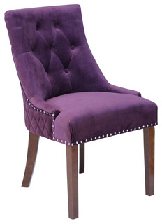Franklin Velvet Dining Chairs Set of 2 Plum Wine